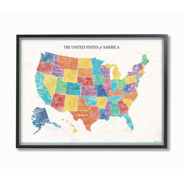Shop The Stupell Home Decor Bright Multicolored And Lettered Us Map
