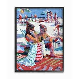 The Stupell Home Decor Bright Colored Painting Girls Reading at the Beach Framed Art, 11 x 14, Proudly Made in USA - Multi-Color