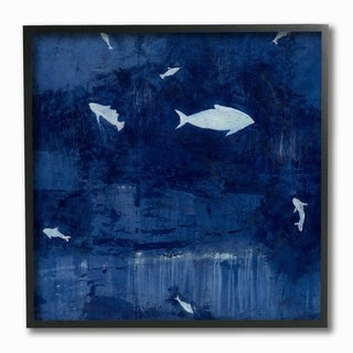 The Stupell Home Decor Deep Blue Fish Negative Space Silhouettes Painting Framed Art, 12 x 12, Proudly Made in USA