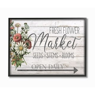 The Stupell Home Decor Farmhouse Planked Look Fresh Flower Market Open Daily Framed Art, 11 x 14, Proudly Made in USA