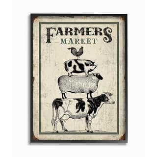 The Stupell Home Decor Farmers Market Vintage Look Stacked Animals Framed Art, 11 x 14, Proudly Made in USA - Multi-Color