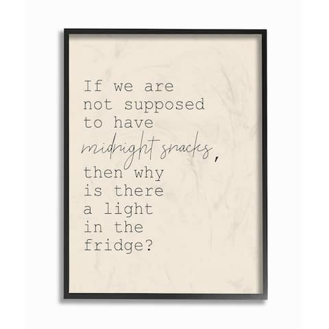 The Stupell Home Decor Fridge Lights are for Midnight Snacks Funny Framed Art, 11 x 14, Proudly Made in USA - Multi-Color
