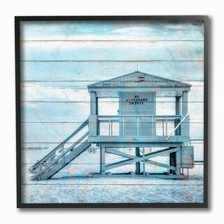 The Stupell Home Decor Blue Tinted Shack on the Beach Planked Look Framed Art, 12 x 12, Proudly Made in USA