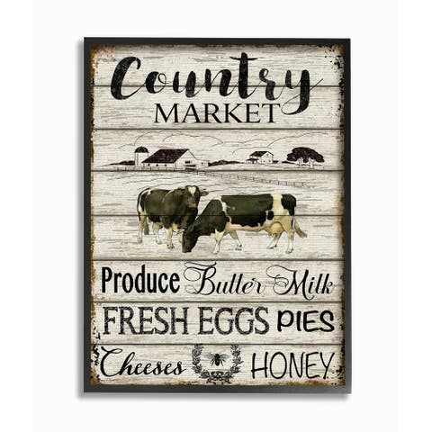 The Gray Barn Planked Country Market Sign Framed Art - Multi-Color