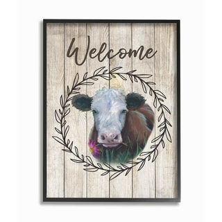 The Stupell Home Decor Welcome Sign Painted Cow with Flower and Wreath Framed Art, 11 x 14, Proudly Made in USA - Multi-Color