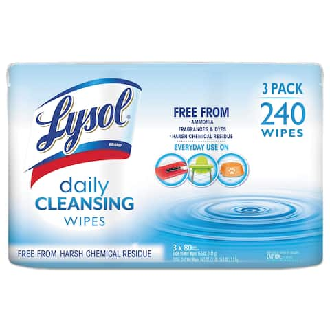 LYSOL Brand Daily Cleansing Wipes, 80 Wipes/Canister, 3 Canisters/Pk - White - 8 x 7