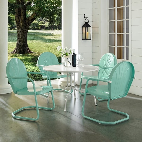 Shop Griffith Aqua 5 Piece Metal Outdoor Dining Set Free