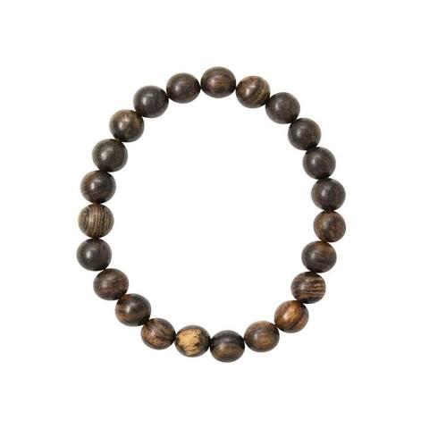 Dakota Wood Bead Mala Yoga Unisex Bracelet with Elastic Band