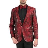 Ferrecci Mens ROMI Premium Floral Pattern Shawl Slim Tuxedo Blazer