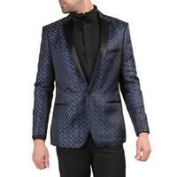 Ferrecci Mens Premium Star Pattern Notch Collar Slim Tuxedo Blazer
