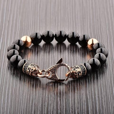 Crucible Stainless Steel Onyx Beaded Bracelet (10mm)