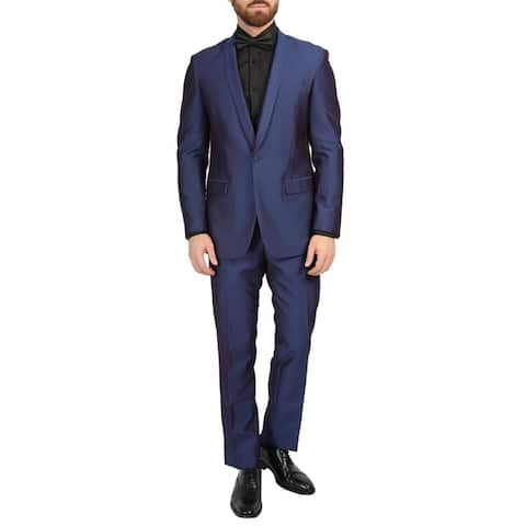 Ferrecci Mens Daxson Premium Slim Fit Iridescent 3pc Vested Tuxedo