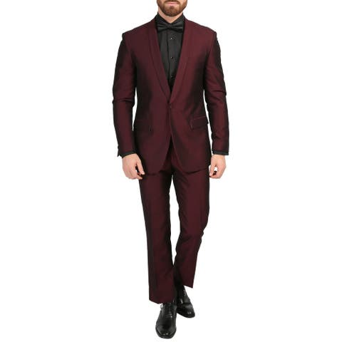 Ferrecci Mens Daxson Premium Slim Fit Iridescent 3pc Vested Tuxedo