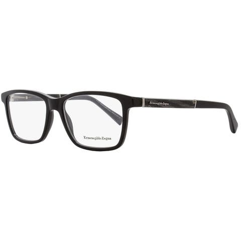 Ermenegildo Zegna EZ5012 005 Mens Black/Gray Horn 57 mm Eyeglasses - Black/Gray Horn
