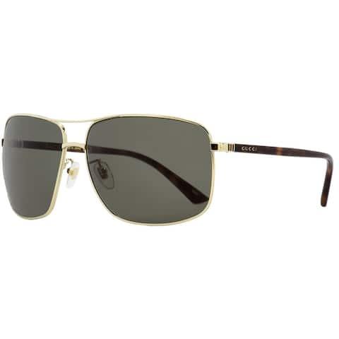 Gucci GG0065SK 004 Mens Gold/Havana 66 mm Sunglasses