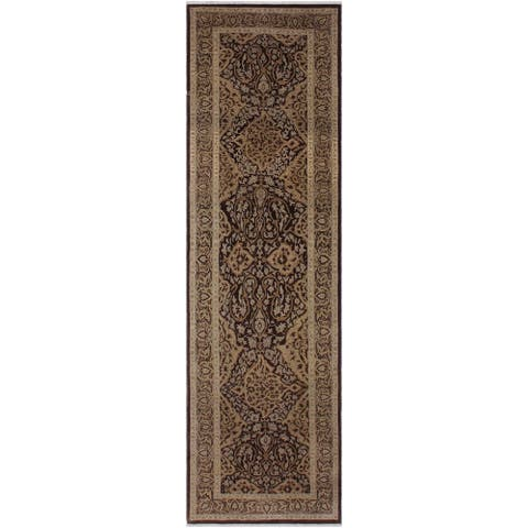 """Turkish Knotted Istanbul Hsiu Brown/Gold Hand-Knotted Wool Runner - 3'2 x 11'3 - 3'2"""" x 11'3"""" - 3'2"""" x 11'3"""""""