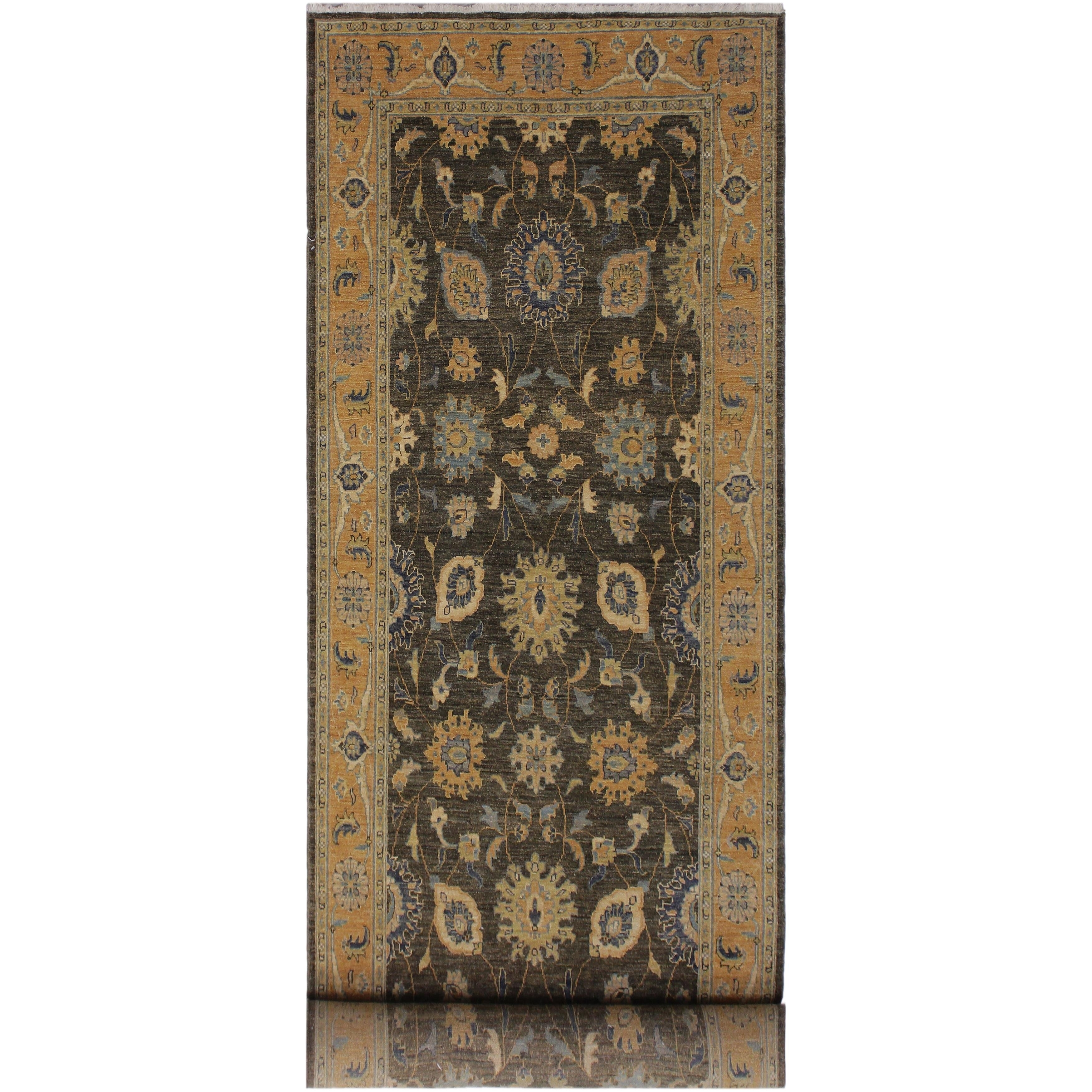 Ruth Grey Blue Hand Knotted Wool Runner