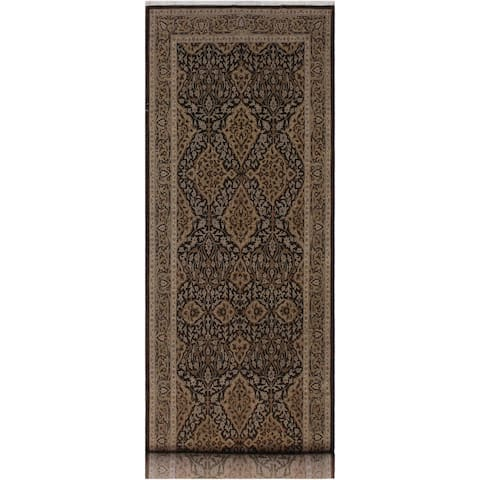 """Turkish Knotted Istanbul Nisha Brown/Grey Hand-Knotted Wool Runner - 4'2 x 10'6 - 4'2"""" x 10'6"""" - 4'2"""" x 10'6"""""""