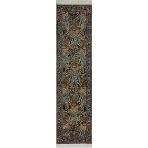 "Hamjolie Pak-Persian Lauri Green/Grey Hand-Knotted Wool Runner - 2'6 x 8'1 - 2'6"" x 8'1"""