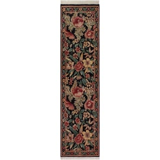 "Pak-Persian Rhea Black/Red Hand-Knotted Wool Runner - 2'6 x 8'2 - 2'6"" x 8'2"""