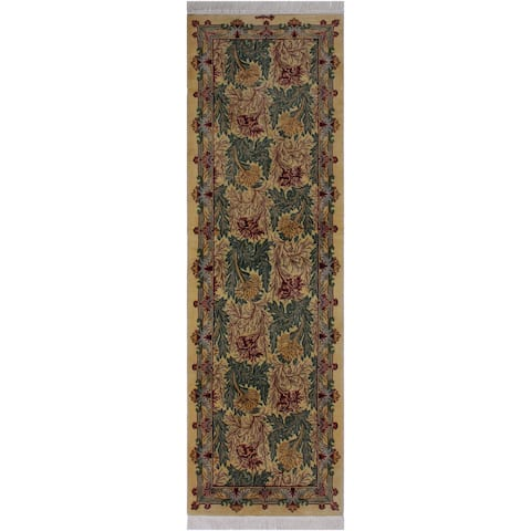 "Tulip Pak-Persian Beverley Gold/Red Hand-Knotted Wool Runner - 2'7 x 8'2 - 2'7"" x 8'2"""
