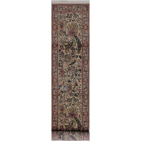 """Kashan Pak-Persian Hester Ivory/Pink Hand-Knotted Wool Runner - 2'7 x 11'1 - 2'7"""" x 11'1"""" - 2'7"""" x 11'1"""""""