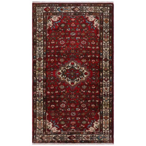 """Antique Persian Kashan Jerry Red/Ivory Hand-knotted Wool & Silk Runner - 3'5 x 7'0 - 3'5"""" x 7'0"""" - 3'5"""" x 7'0"""""""