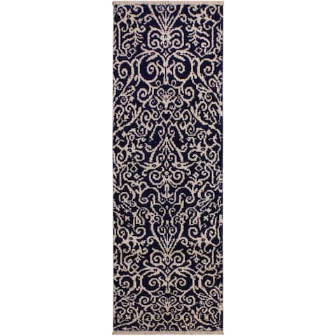 """Modern Cyrena Blue/Ivory Hand-knotted Wool & Viscose Runner - 2'0 x 6'0 - 2'0"""" x 6'0"""" - 2'0"""" x 6'0"""""""