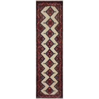 """Antique Persian Kashan Cesar Ivory/Red Hand-Knotted Wool Runner - 2'6 x 9'9 - 2'6"""" x 9'9"""""""