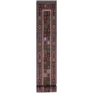 """Soumakh Sage Red/Grey Hand-Woven Wool Runner - 2'4 x 11'7 - 2'4"""" x 11'7"""""""