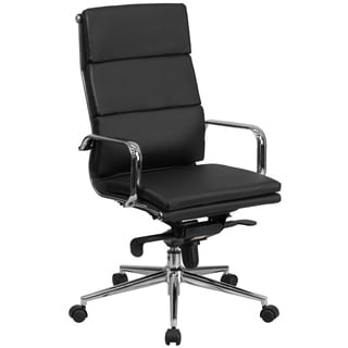 High Back Executive Black Leather Adjustable Swivel Office Chair With Chrome Metal Base And Arms