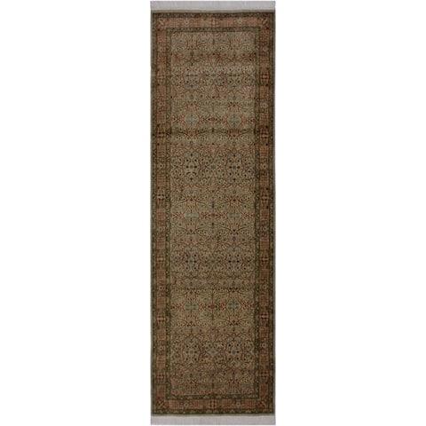 """Tabriz Pak-Persian Teofila Tan/Gold Hand-Knotted Wool Runner - 3'1 x 9'4 - 3'1"""" x 9'4"""" - 3'1"""" x 9'4"""""""