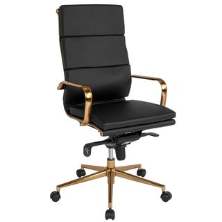 High Back Executive Black Leather Adjustable Swivel Office Chair With Rose Gold Metal Base And Arms