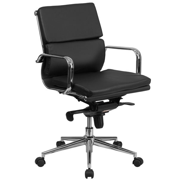Executive Black Leather Adjustable Swivel Office Chair With Chrome Metal Base And Arms