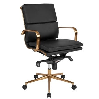 Executive Black Leather Adjustable Swivel Office Chair With Rose Gold Metal Base And Arms