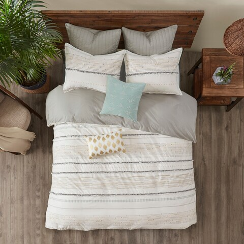 INK+IVY Nea Multi Cotton Printed Duvet Cover Set with Trims