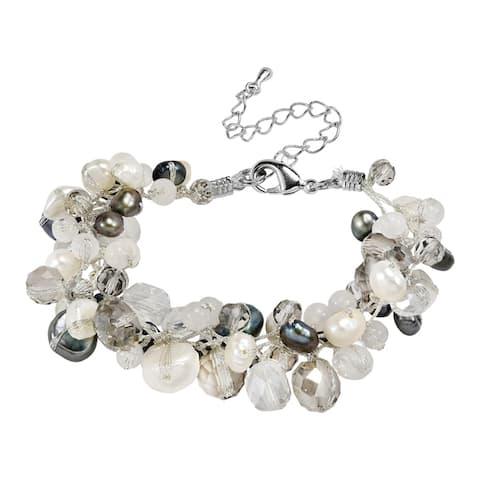 Handmade Amazing Cluster of White Pearls & Crystal Beads Statement Bracelet (Thailand)