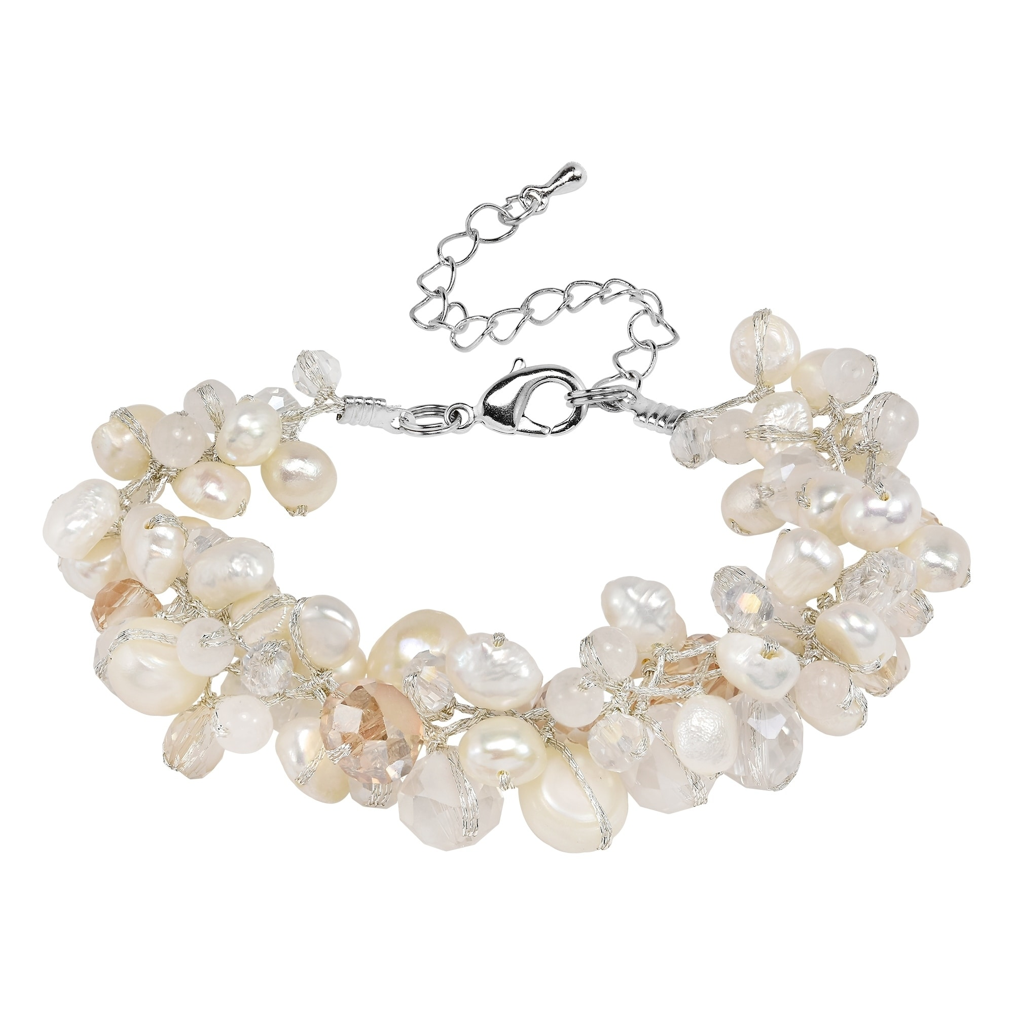 Shop Handmade Amazing Cluster Of White Pearls Crystal Beads