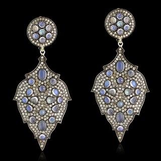 14Kt Gold Silver 925 Diamond Designer Dangle Earring Moon Stone Jewelry