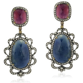 18Kt Gold Silver 925 Diamond Designer Sapphire Dangle Earring Precious Stone Jewelry