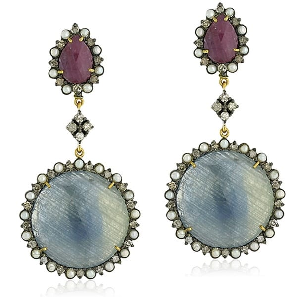 18Kt Gold Silver 925 Diamond Designer Pearl Sapphire Dangle Earring Precious Stone Jewelry