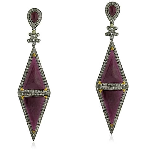 18Kt Gold Sterling Silver Diamond Geometric Ruby Dangle Earring Precious Stone Jewelry
