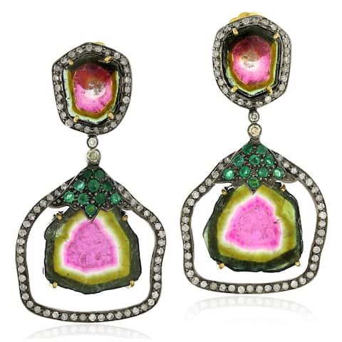 18Kt Gold Silver 925 Diamond Designer Tourmaline Emerald Dangle Earring Gemstone Jewelry