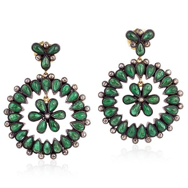 14K Gold 925 Silver Diamond Designer Emerald Dangle Earring Precious Stone Jewelry