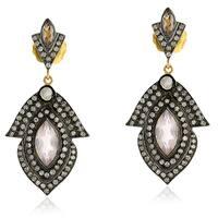 18Kt Gold Silver 925 Diamond Designer Quartz Dangle Earring Semiprecious Stone Jewelry
