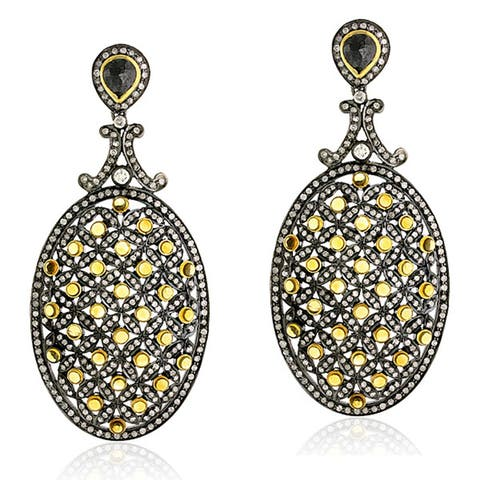 18Kt Gold Silver 925 Diamond Citrine Women Dangle Earring Semiprecious Stone Jewelry