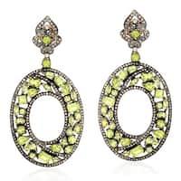 18Kt Gold Silver 925 Diamond Designer Peridot Dangle Earring Semiprecious Stone Jewelry