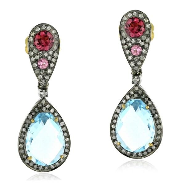18Kt Gold Silver 925 Diamond Designer Topaz Tourmaline Dangle Earring Semiprecious Stone Jewelry