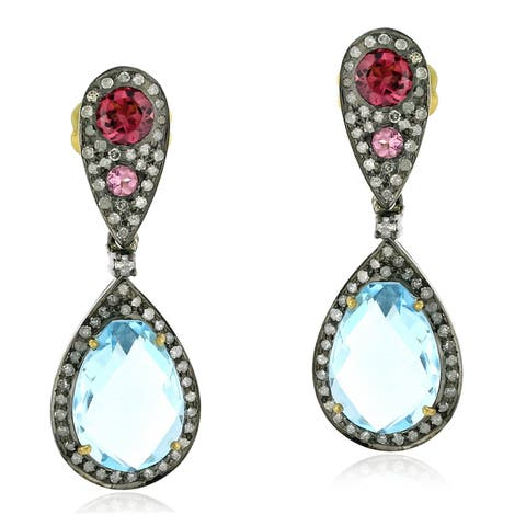 18Kt Gold Silver 925 Diamond Designer Topaz Tourmaline Dangle Earring Semiprecious Stone Jewelry