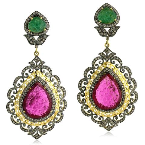 14Kt Gold Silver 925 Diamond Carving Emerald Ruby Dangle Earring Carving Jewelry
